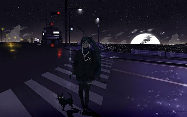 夜の横断歩道を黒猫と一緒に渡る初音ミクの可愛いイラスト壁紙画像