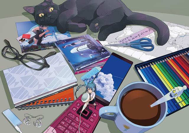 机の上の小さな初音ミクとそれを見つめる黒猫の可愛いイラスト壁紙画像