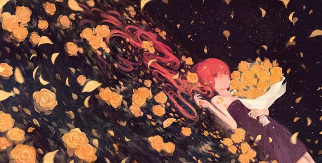バラの花束を抱えて寝そべる初音ミクの綺麗なイラスト壁紙画像