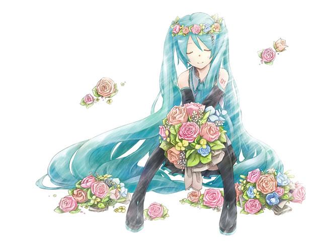 バラの花冠をして花束を持った初音ミクの可愛いイラスト壁紙画像