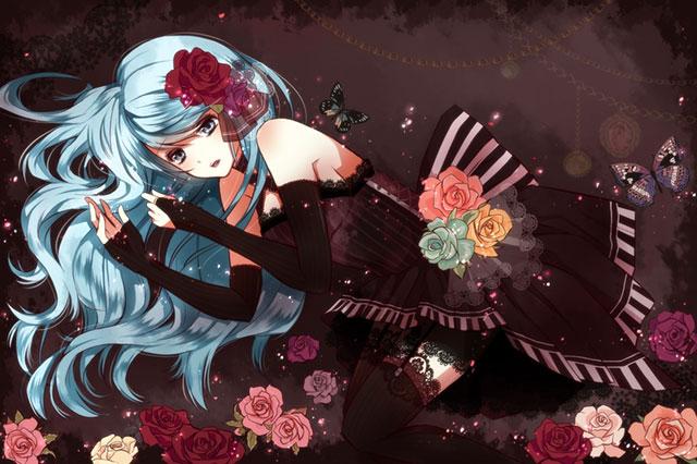 黒いドレス姿の初音ミクと薔薇の花の美しいイラスト壁紙画像
