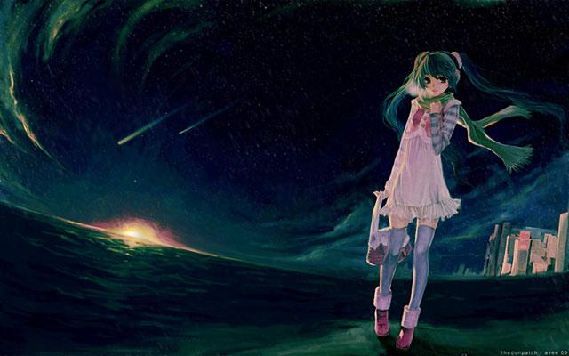夜の海辺を歩くマフラーを巻いて白い息を吐く初音ミクの可愛いイラスト壁紙画像