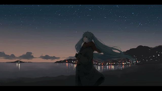 冬の夜の海辺を歩く初音ミクの綺麗なイラスト壁紙画像