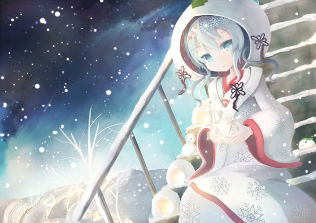 雪の積もった階段を降りてくる雪見を描いた可愛いイラスト壁紙画像