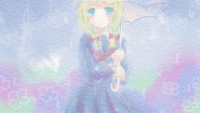 雨の中傘をさしたリンが涙を流している可愛いイラスト壁紙画像
