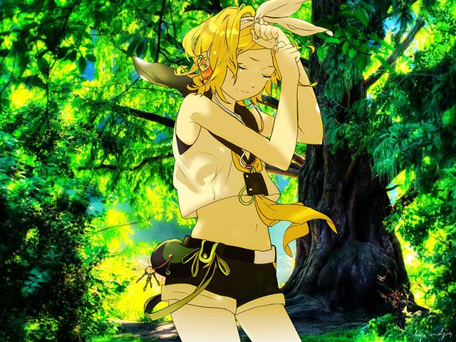森の中で涙を流すちょっと大人っぽい雰囲気のリンのイラスト壁紙画像