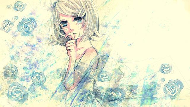 涙を流すドレス姿鏡音リンと薔薇の花をデザインした綺麗なイラスト壁紙画像