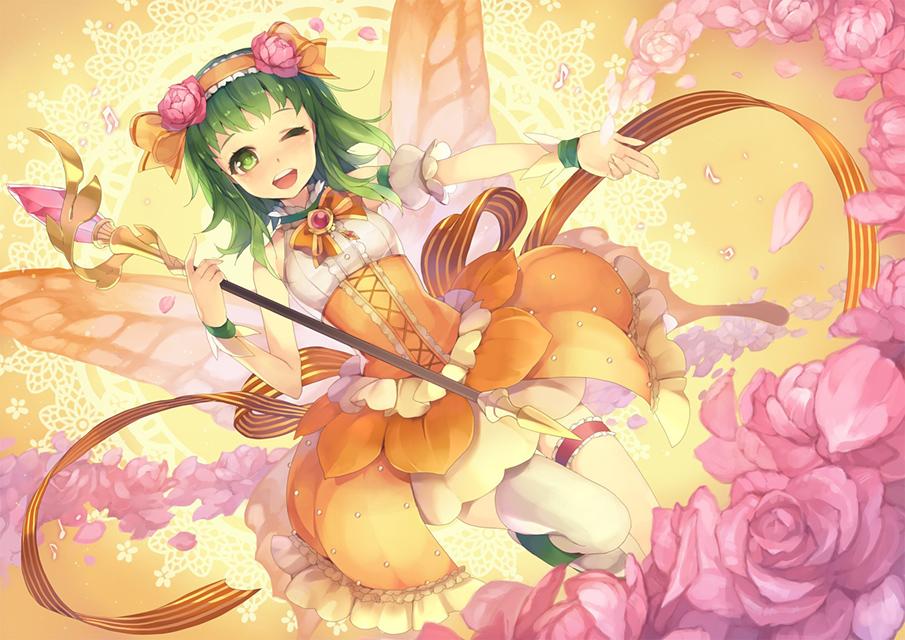 蝶になったGUMIとたくさんの薔薇の花の可愛いイラスト壁紙画像