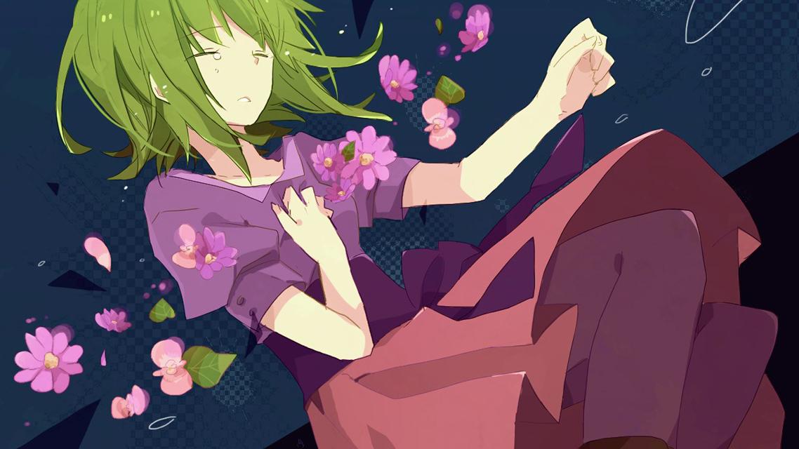 目をつぶって涙を流すGUMIと舞い散る花びらの綺麗なイラスト壁紙画像