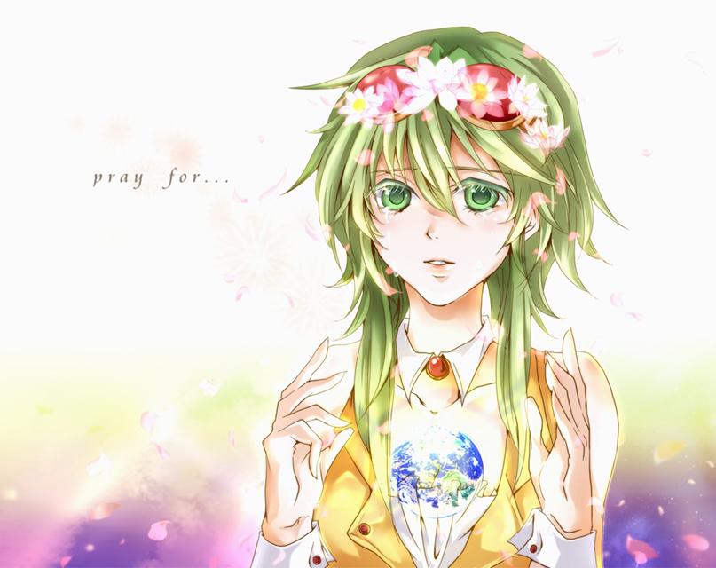 頭に花飾りをつけて涙を流すGUMIの綺麗なイラスト壁紙画像