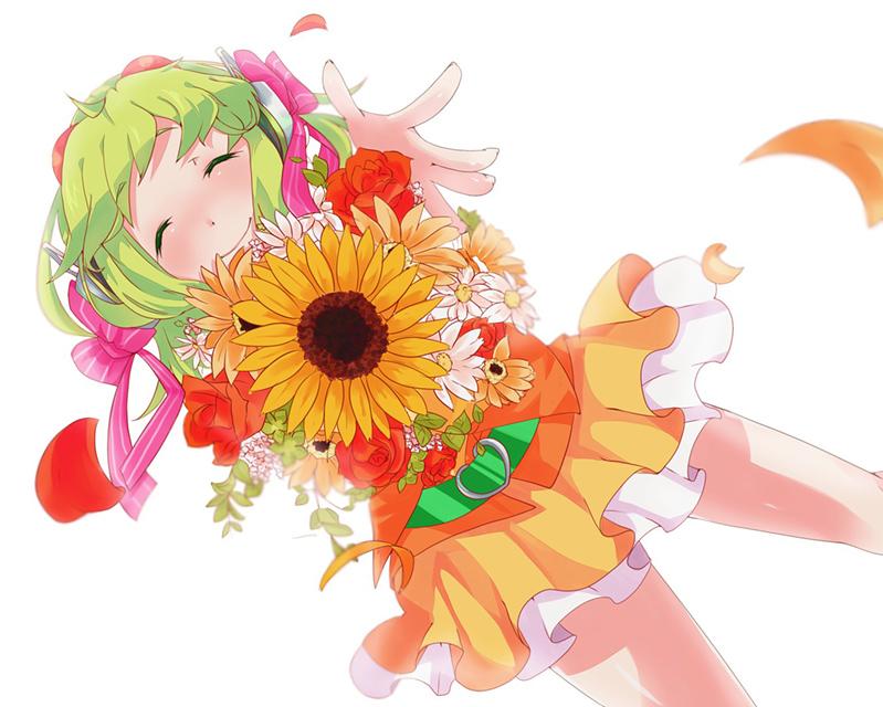 ひまわりやバラの花束を持って笑顔のグミの可愛いイラスト壁紙画像