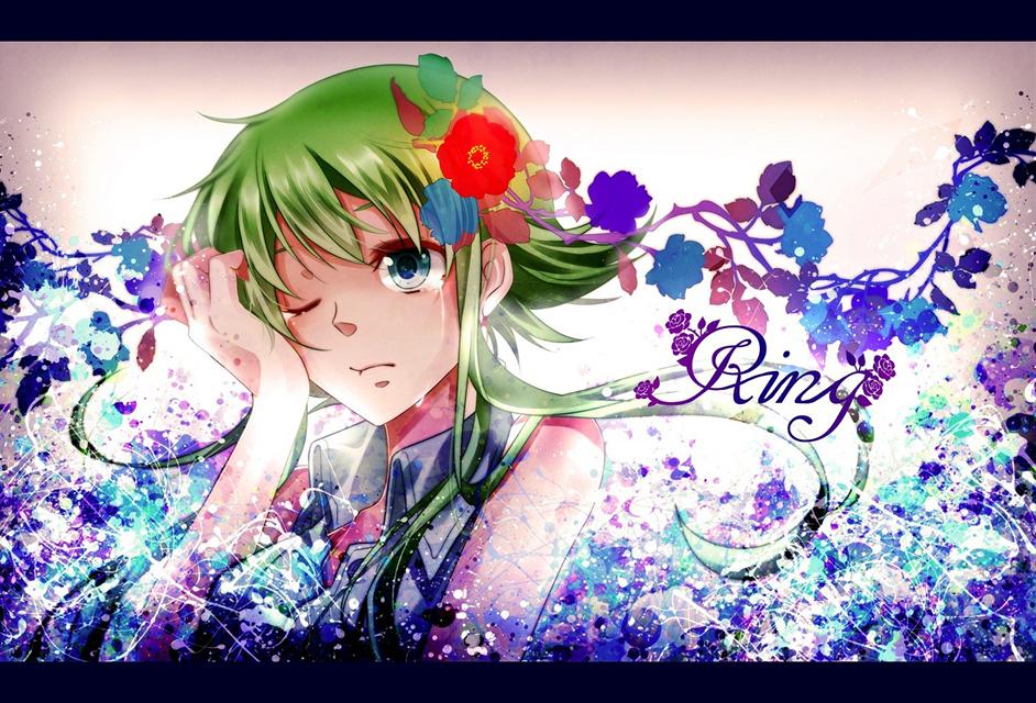花飾りをつけて涙を流すGUMIの綺麗でおしゃれなイラスト壁紙画像
