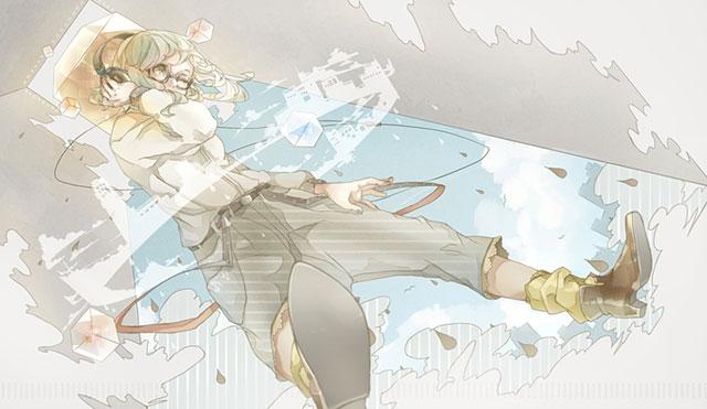 ヘッドフォンをしたメガネっ娘なGUMIの可愛いイラスト壁紙画像