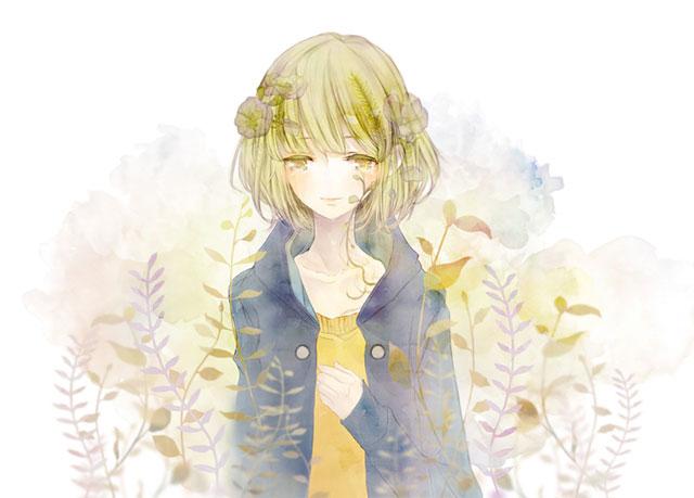 花飾りをつけたGUMIと草を淡いタッチで描いた水彩画風イラスト壁紙画像