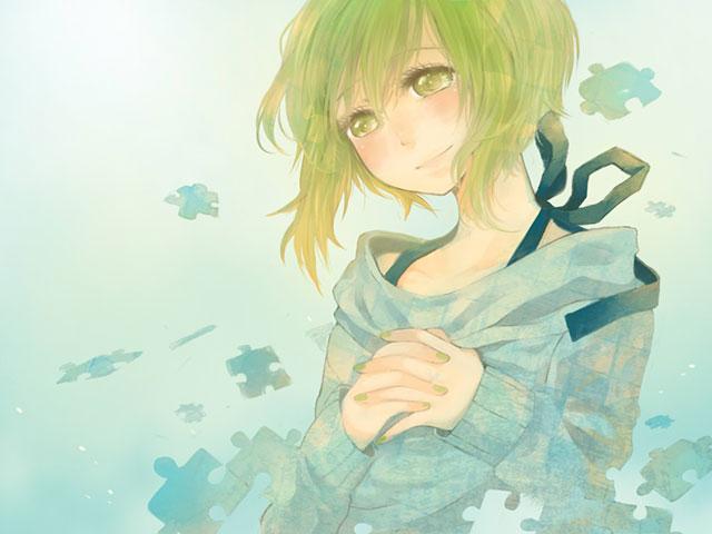パズルのピースと笑顔のGUMIを優しいグリーンで描いた綺麗な水彩画風イラスト壁紙画像