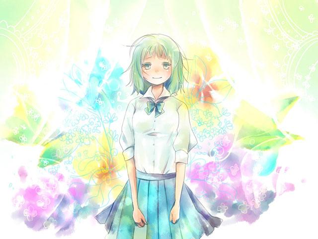 制服姿のGUMIとカラフルな花が綺麗な水彩画風イラスト壁紙画像