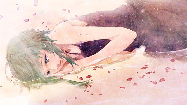 水辺に寝そべるGUMIと花びらの美しいイラスト壁紙画像