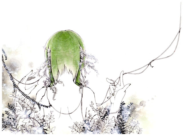 GUMIの後ろ姿と花を繊細に描いた綺麗なイラスト壁紙画像