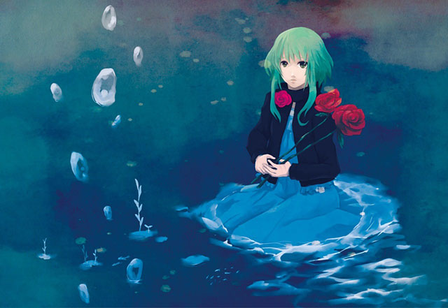 バラの花を持って水辺に座り込むGUMIの美しいイラスト壁紙画像