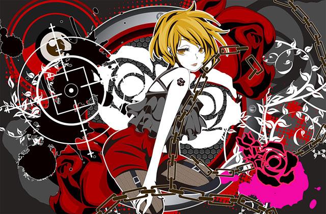 鎖と薔薇とMEIKOをデザインしたポップで可愛いイラスト壁紙画像
