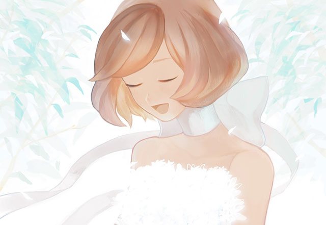 白い花束を持ったドレス姿のメイコの綺麗なイラスト壁紙画像