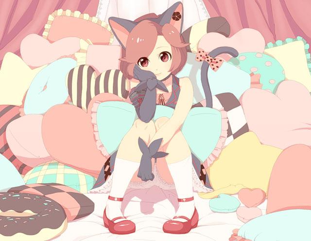 たくさんのクッションと猫耳のMEIKOを描いた可愛いイラスト壁紙画像