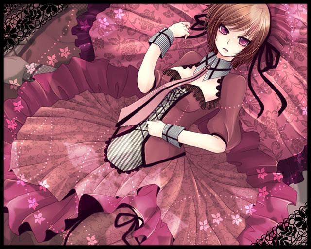 ゴシック系のドレスを着た可愛いMEIKOのイラスト壁紙画像