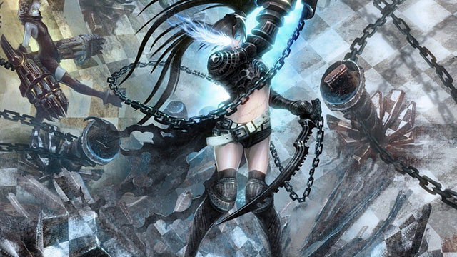 鎖と鎧がかっこいいブラックロックシューターの初音ミクのリアルなイラスト壁紙画像