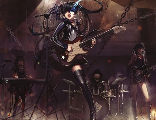 ライブ演奏中のブラックロックシューターミクのかっこいいイラスト壁紙画像