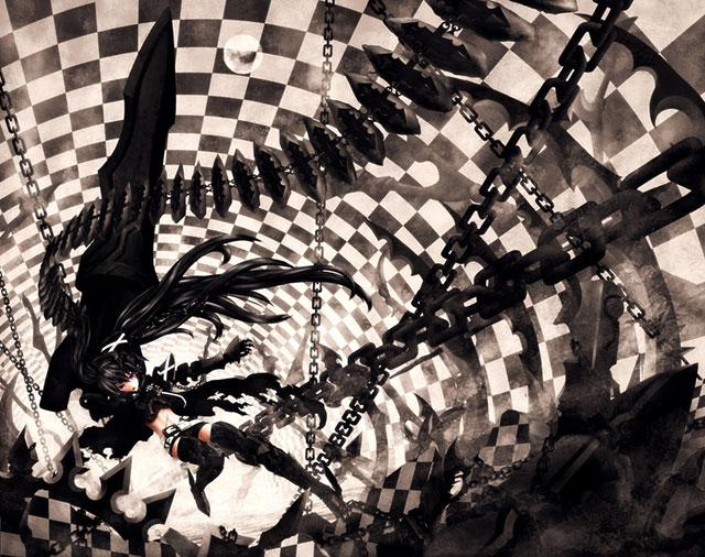 鎖を操るブラックロックシューターのミクのクールなイラスト壁紙画像