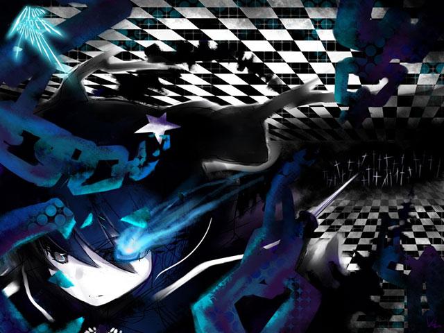 疾走するブラックロックシューターのミクのかわいいイラスト壁紙画像