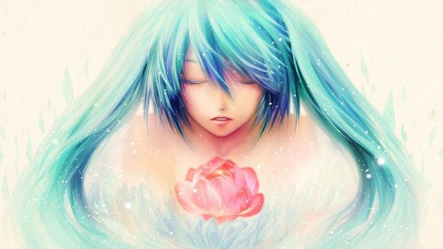 花と初音ミクを淡い色合いで描いた美しいイラスト壁紙画像