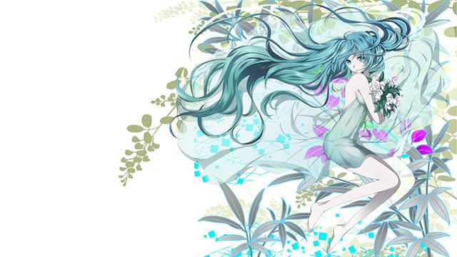透き通ったドレスを着た初音ミクとたくさんの花の綺麗なイラスト壁紙画像
