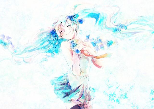花と笑顔の初音ミクをカラフルに描いた可愛いイラスト壁紙画像