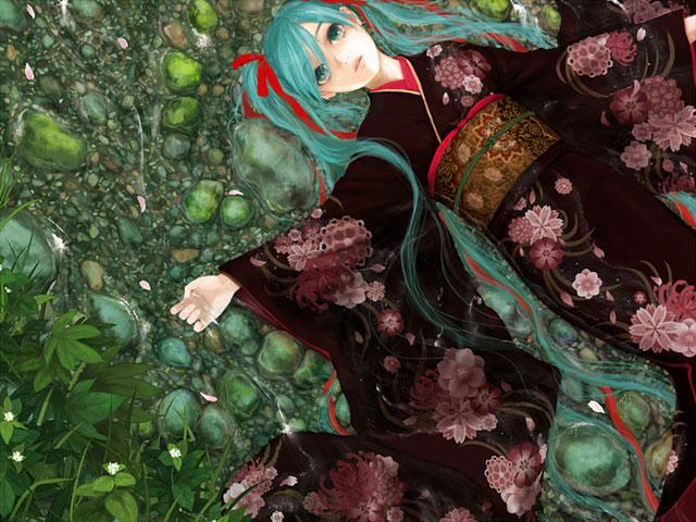 浅い川に寝そべった綺麗な花柄の和服を着た初音ミクの和風イラスト壁紙画像