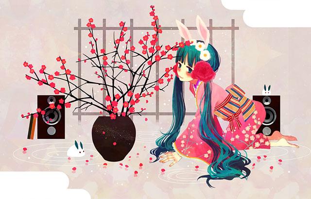 梅の花をさした花瓶とスピーカーと和服ミクの可愛いイラスト壁紙画像