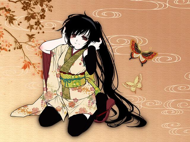 蝶と花の和風背景とヘッドフォンで音楽を聴く初音ミクの可愛いイラスト壁紙画像