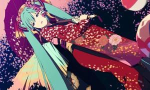 【初音ミク】和風デザインが綺麗なイラスト画像【ボカロ壁紙】