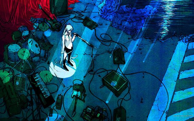ライブ後の初音ミクを描いた少し寂しい雰囲気のイラスト壁紙画像