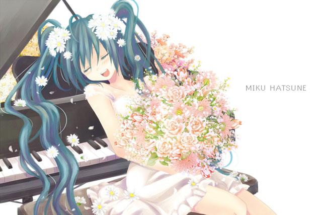 たくさんの花束を抱えてピアノの椅子に座るミクの綺麗なイラスト壁紙画像