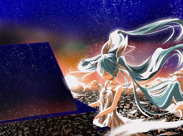 ドレスを着てピアノを弾くミクと夜景を重ねた美しいイラスト壁紙画像