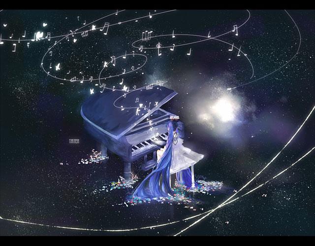 ピアノから流れるメロディと星空の綺麗なイラスト壁紙画像