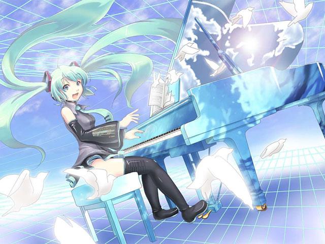 飛び立つ白いハトと楽しそうにピアノを弾くミクの可愛いイラスト壁紙画像