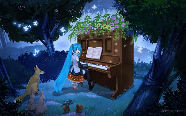 森の中で動物たちにピアノを弾いてあげる初音ミクの可愛いイラスト壁紙画像
