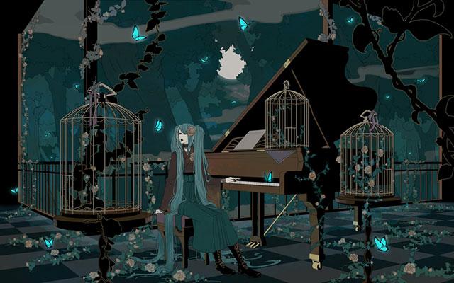 ピアノと鳥かごと大人っぽいミクの綺麗なイラスト壁紙画像