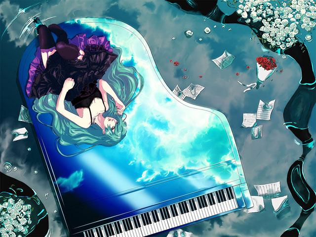 ピアノの上に横になった初音ミクの綺麗なイラスト壁紙画像