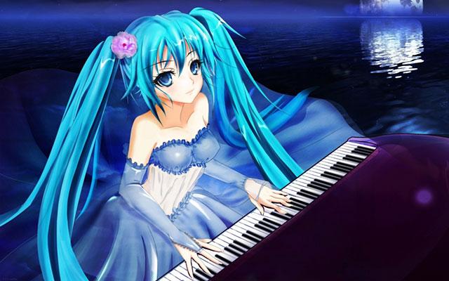ドレス姿でピアノを弾くミクと海に沈む月の美しいイラスト壁紙画像
