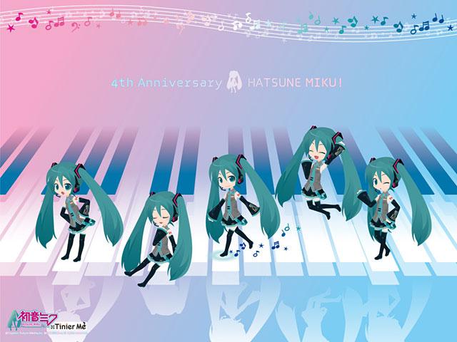ピアノの鍵盤の上を歩く小さなミク達の可愛いイラスト壁紙画像