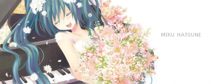 【初音ミク】ピアノとミクの可愛いイラスト画像【ボカロ壁紙】