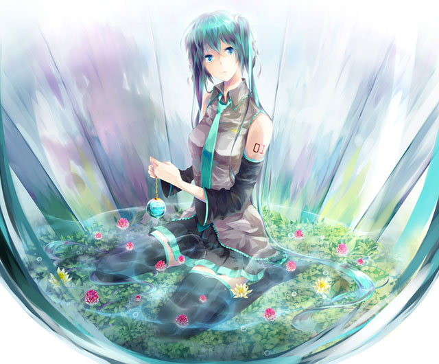 水の中の植物とそこに座り込んだ初音ミクの美しいイラスト壁紙画像